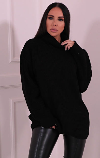 Black Knitted Turtleneck Mini Jumper Dress - Elmore