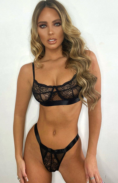 Black Lace Balcony Bra & High Waisted Thong Set - Isabel