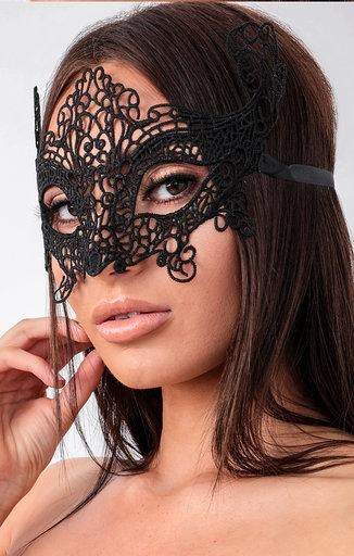 Black Lace Cat Eye Mask - Phoebe