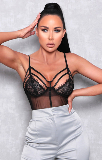 Black Lace Double Cup Strappy Bodysuit - Cara