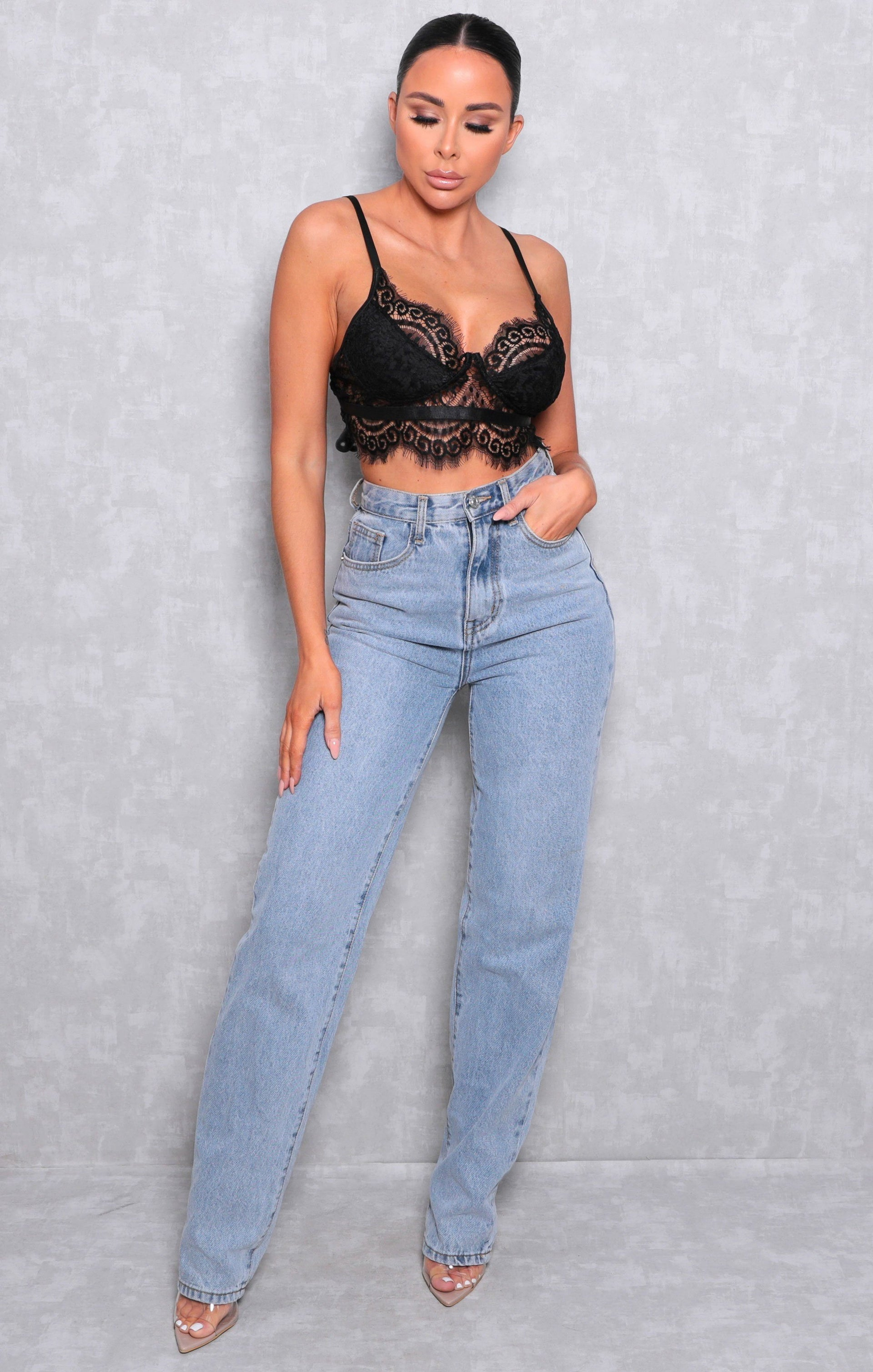 Black Lace Eyelash Bralette Top - Dagmar