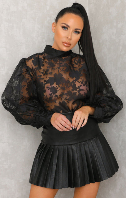 Black Lace Floral High Neck Cuffed Mesh Organza Top - Sammy