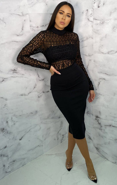 Black Lace Long Sleeve Midi Dress - Rubi