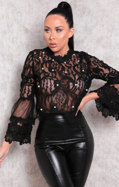 Black Lace Pearl Detail Flare Sleeve Top - Adele