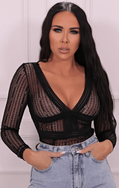 Black Lace V-neck Bodysuit - Raine