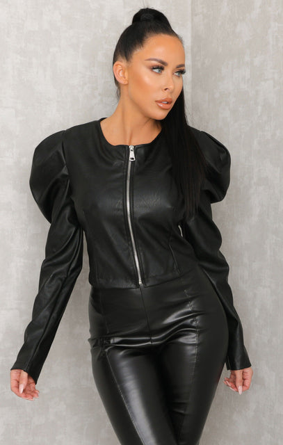 Black Leather Look Cropped Jacket - Cara