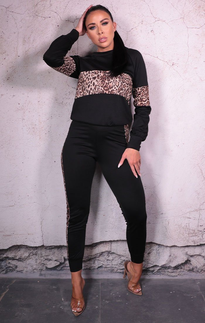 Black Leopard Print Long Sleeve Loungewear Set - Imogen