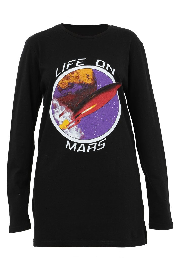 Black Life On Mars Print T-Shirt Dress - Chloe