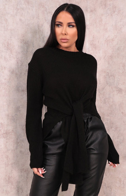 Black Long Line Split Jumper - Menzie
