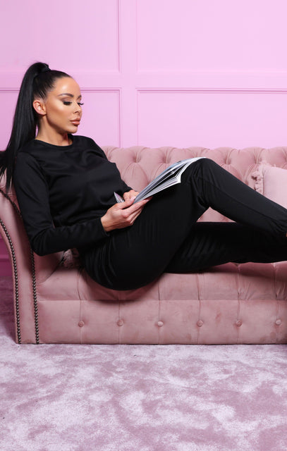 Black Long Sleeve Boxy Cuffed Joggers Loungewear Set - Amor