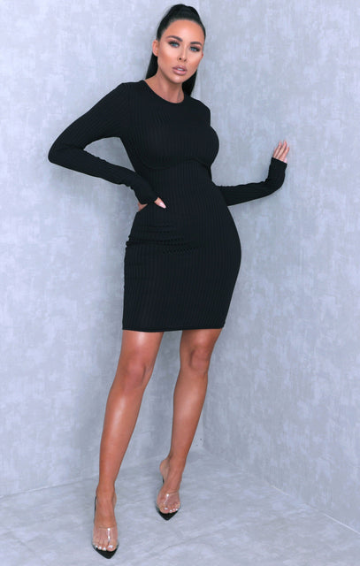 Black Long Sleeve Corset Ribbed Bodycon Mini Dress - Rosa