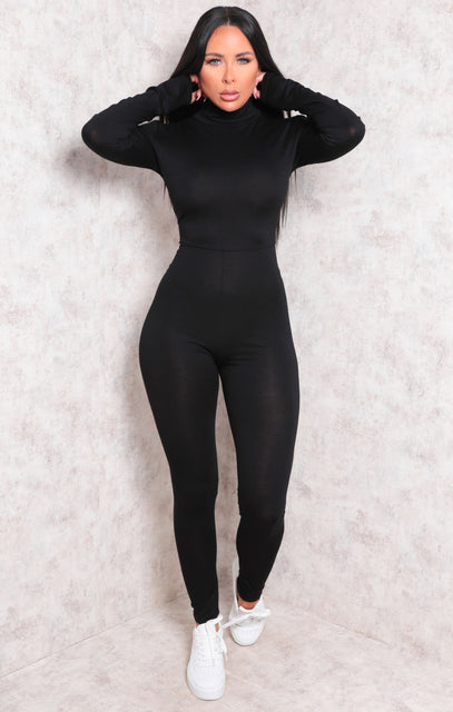 Black Long Sleeve High Neck Jumpsuit - Marissa