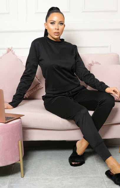 Black Long Sleeve Loungewear Set - Jinell