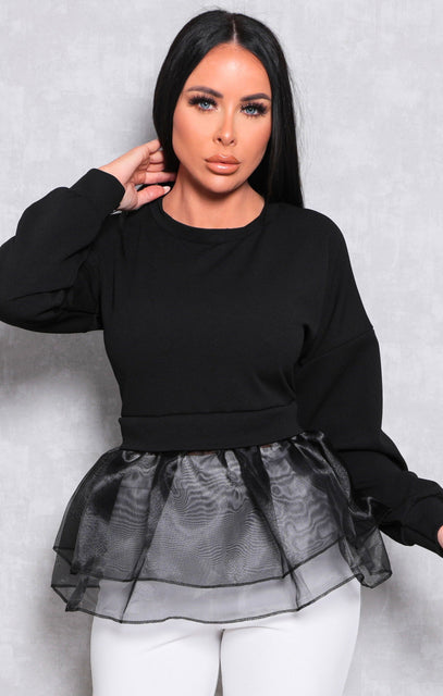 Black Long Sleeve Organza Ruffle Hem Top - Beno