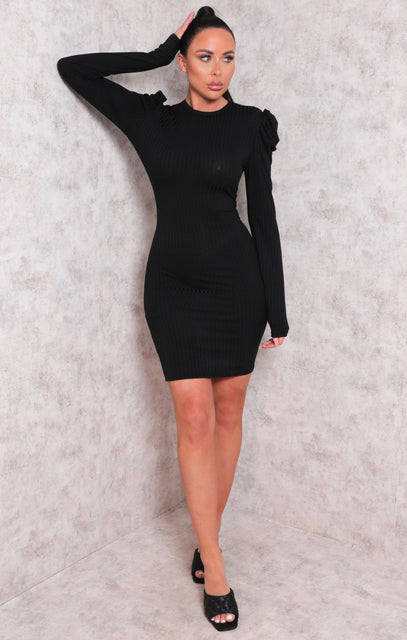 Black Long Sleeve Ribbed Bodycon Mini Dress - Peggy