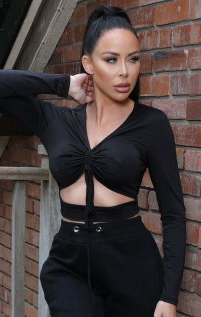 Black Long Sleeve Ruched Front Cut Out Crop Top - Bailee