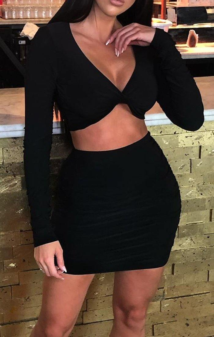 Black Long Sleeve Slinky Plunge Top & Mini Skirt Co-ord - Blanca
