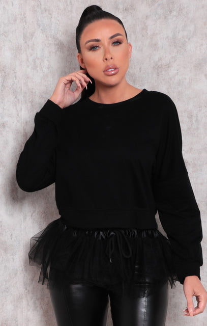 Black Long Sleeve Sweatshirt Tulle Top - Eros
