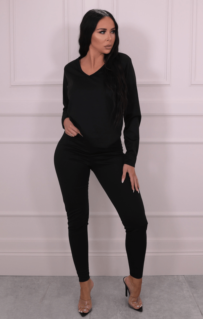 Black Long Sleeve V Neck Leggings Loungewear Set - Acadia