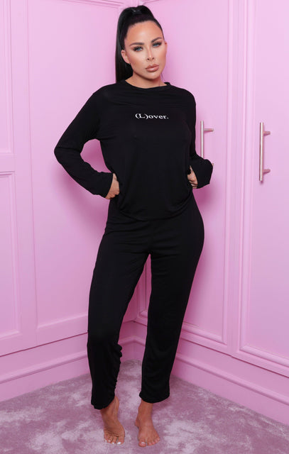 Black 'L(over)' Slogan Print Long Sleeve Pyjama Set - Alena