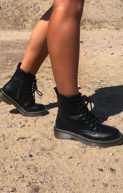 Black Matte Lace Up Biker Boots - Danna