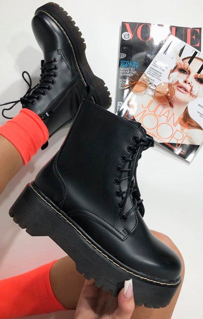 Black Matte Lace Up Chunky Sole Flat Boots - Ellice
