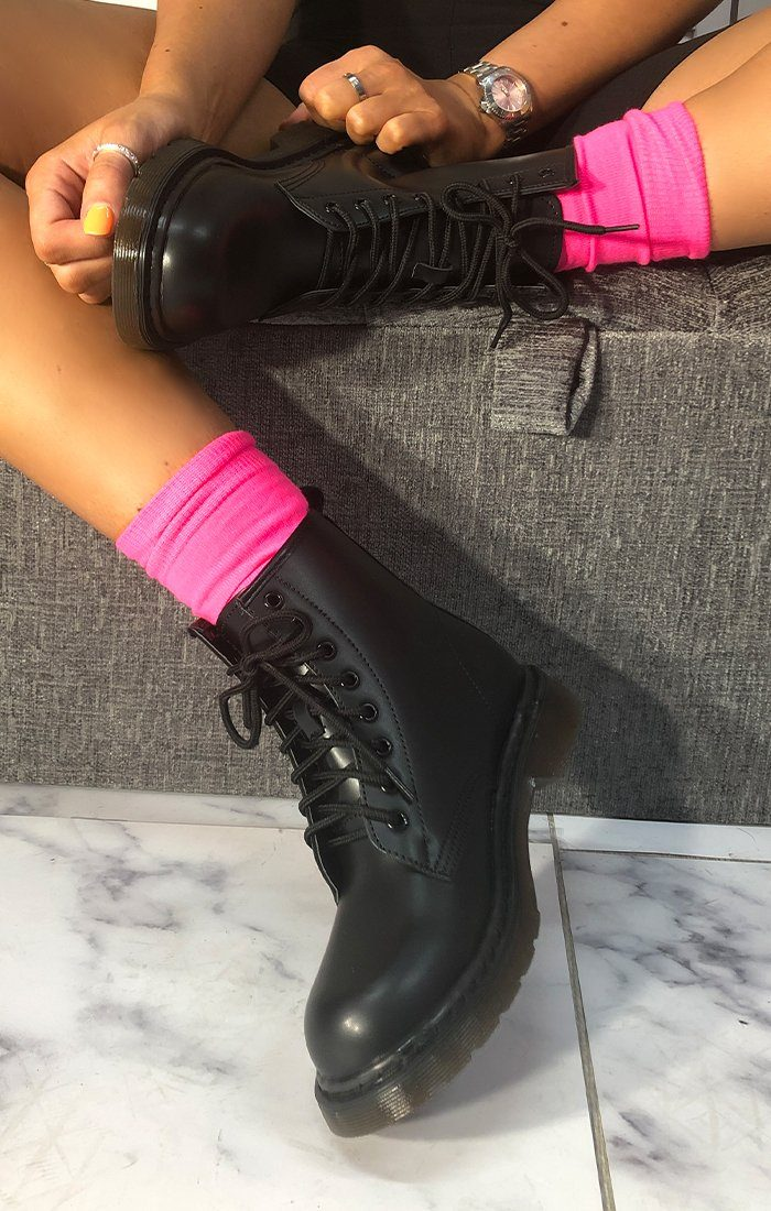 Black Matte Lace Up Flat Boots - Kevina