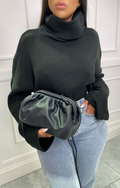 Black Matte PU Ruched Puff Side Bag - Prala