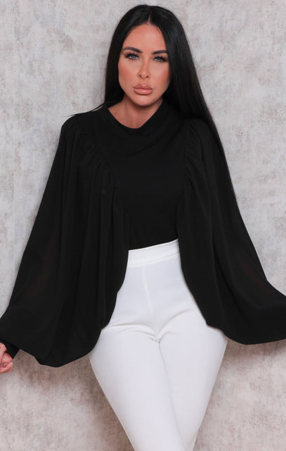 Black Mesh Balloon Sleeve High Neck Top - Farrah