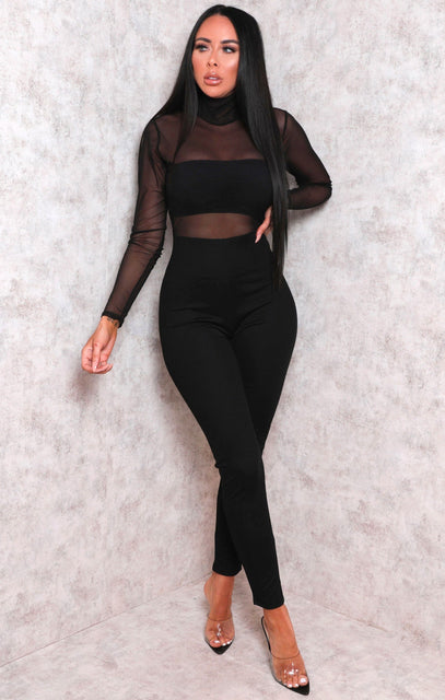 Black Mesh High Neck Jumpsuit - Stephanie