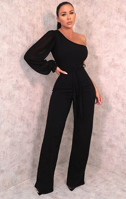 Black Mesh One Shoulder Sleeve Flare Leg Jumpsuit - Daisy