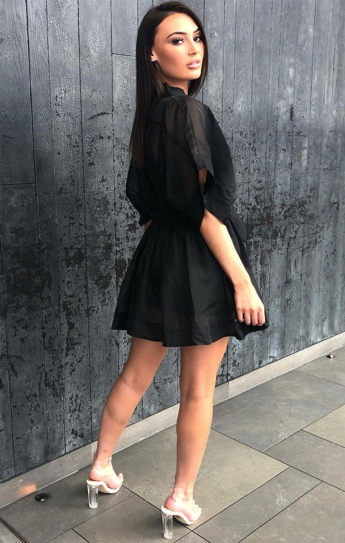 Black Mesh Organza Shirt Dress - Sadie