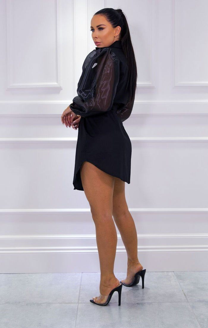 Black Mesh Organza Sleeve Shirt Dress - Hill