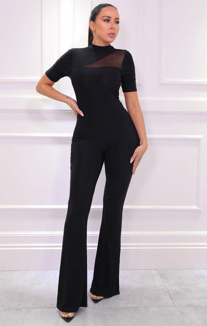 Black Mesh Panel Wide Leg Jumpsuit - Wendy