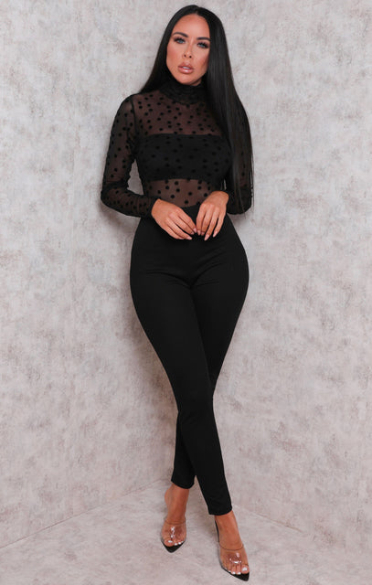 Black Mesh Polka Dot High Neck Jumpsuit - Stephanie
