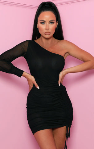 Black Mesh Ruched Dresses