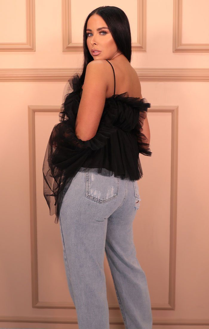 Black Mesh Ruffle Off The Shoulder Top - Aydn