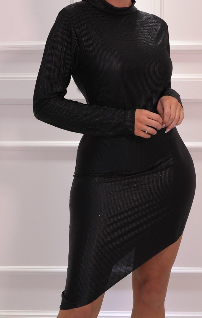 Black Metallic High Neck Bodycon Asymmetric Midi Dress - Cattie