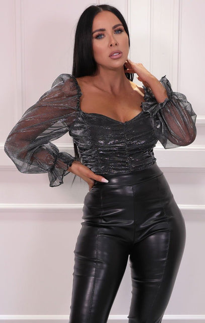 Black Metallic Organza Mesh Sleeve Ruched Crop Top - Cagney