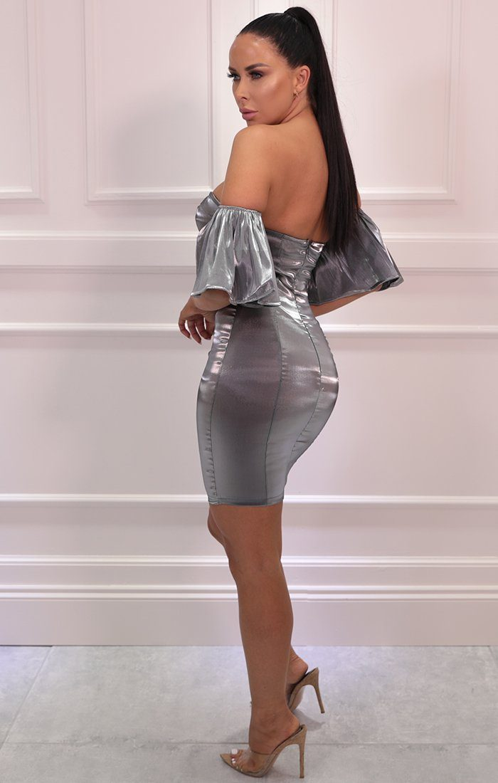 Black Metallic Strapless Flare Sleeve Bodycon Mini Dress - Hoban