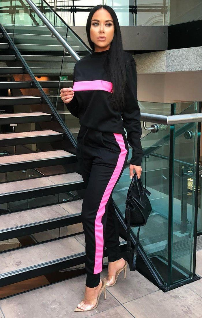 Black Neon Pink Stripe Loungewear Set - Kendall