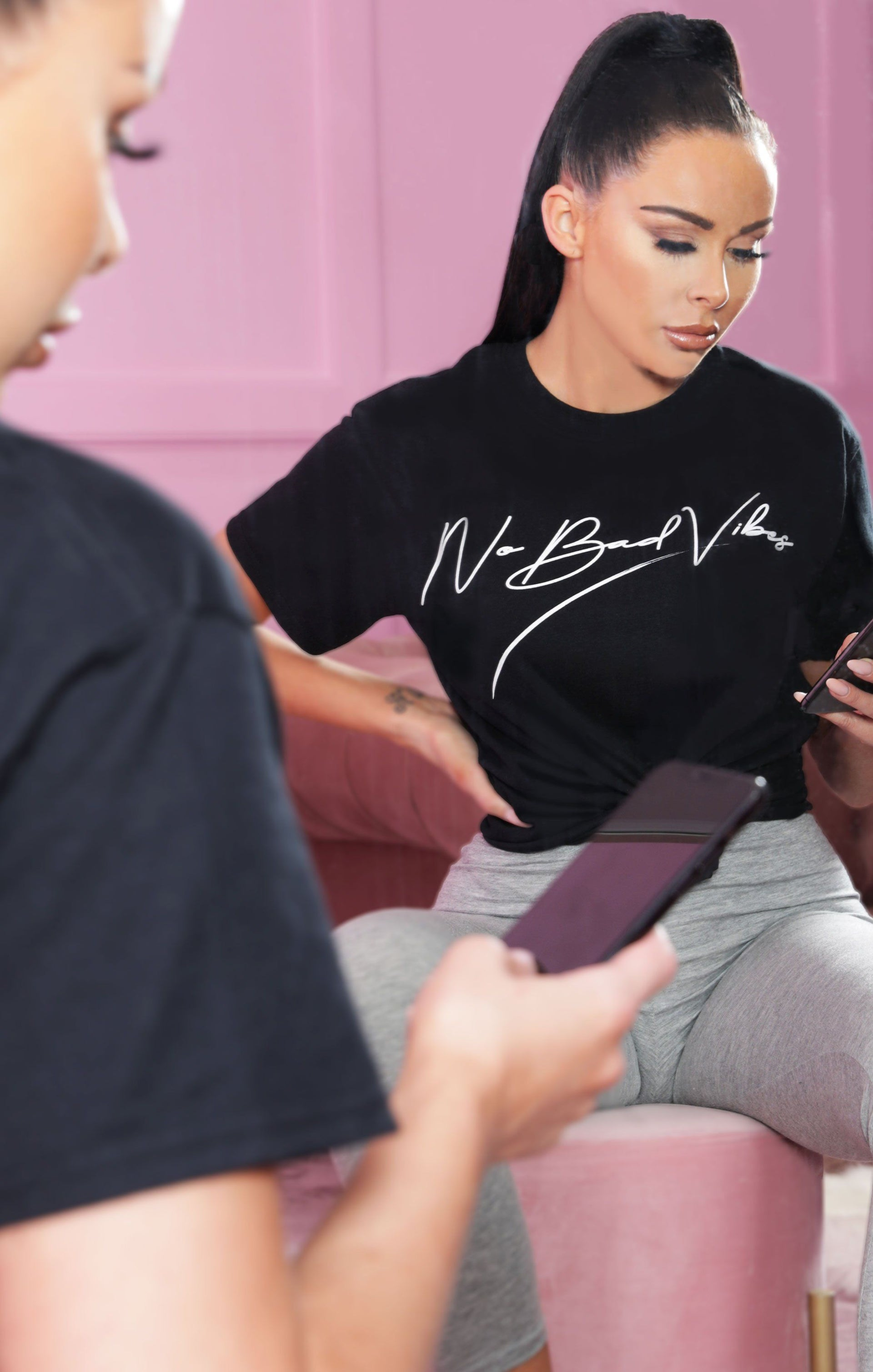 Black 'No Bad Vibes' Oversized T-Shirt - Hannah