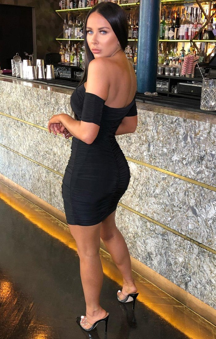 Black One Shoulder Bardot Mini Dress - Jayna