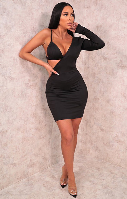 Black One Shoulder Bodycon Mini Dress - Megan