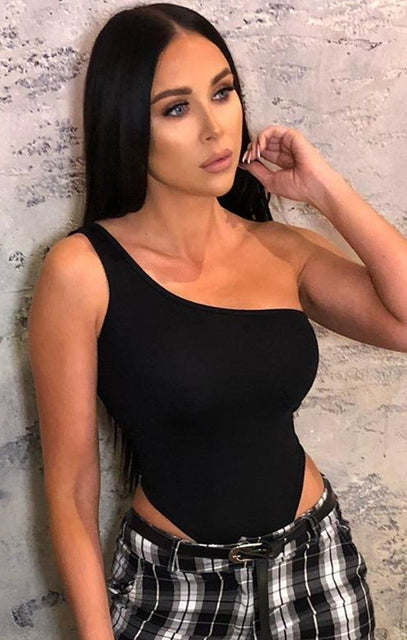 Black One Shoulder Bodysuit - Kate