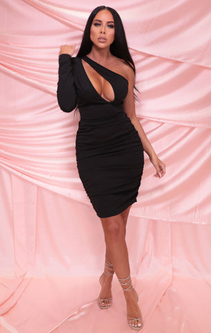 Black One Shoulder Mini Dresses
