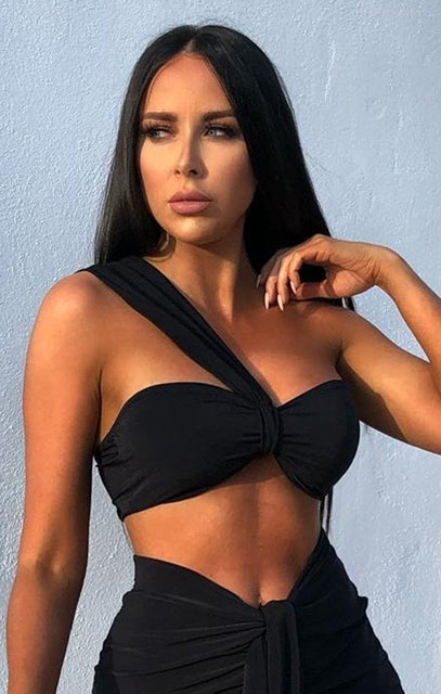 Black One Shoulder Knot Bralette Top - Julie