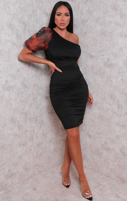 Black One Shoulder Puff Sleeve Ruched Side Midi Dress - April