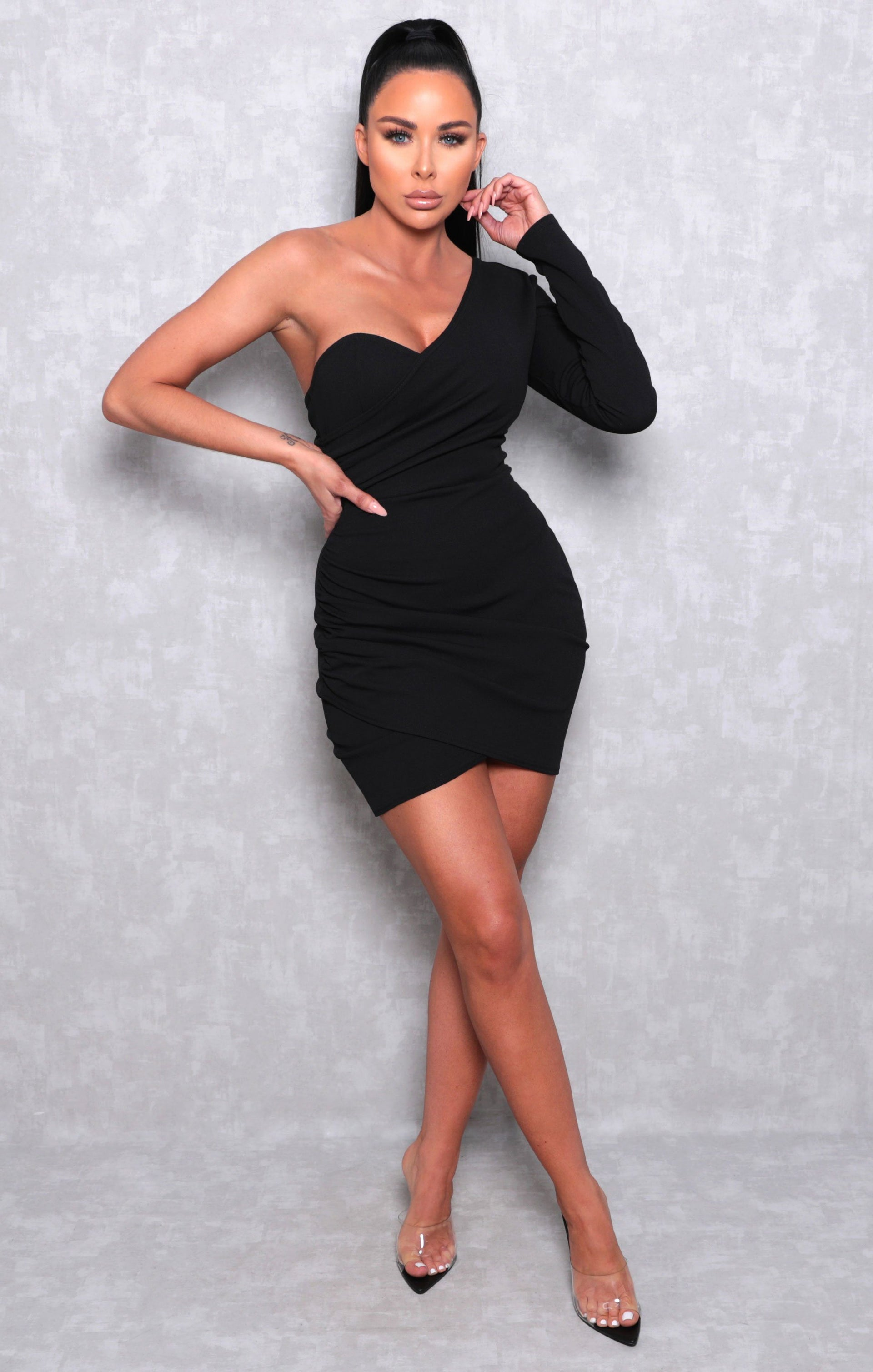 Black One Shoulder Ruched Side Bodycon Mini Dress - Linda