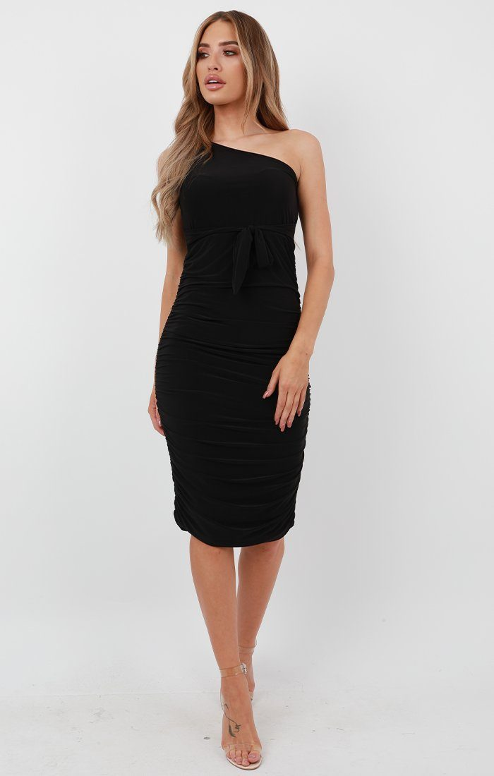 Black One Shoulder Slinky Midi Dress - Dylan